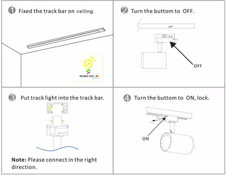 lắp đặt đèn led rọi ray